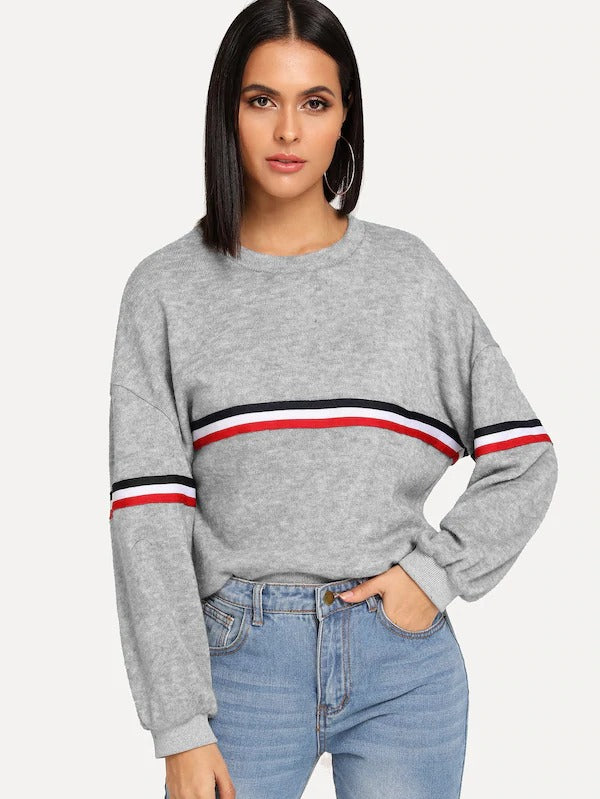 Striped Tape Panel Sweater