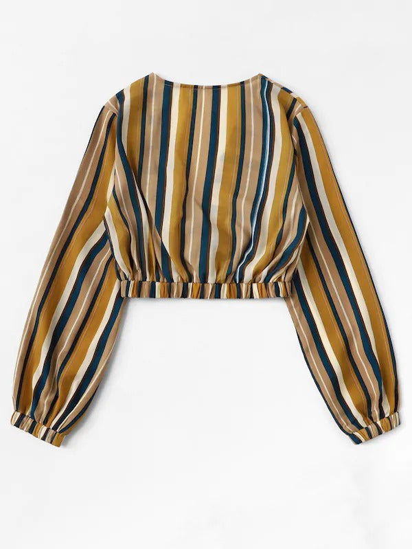 Surplice Plunge Striped Crop Top