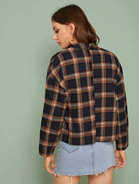 Tartan Waterfall Neck Button Coat