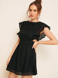 Tassel Trim Lace-Up Backless Schiffy Dress