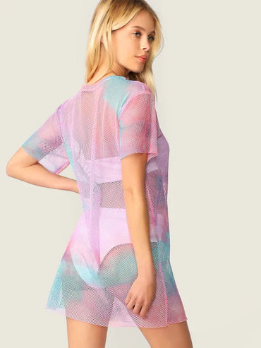 Tie Dye Mesh Dress Without Lingerie Set