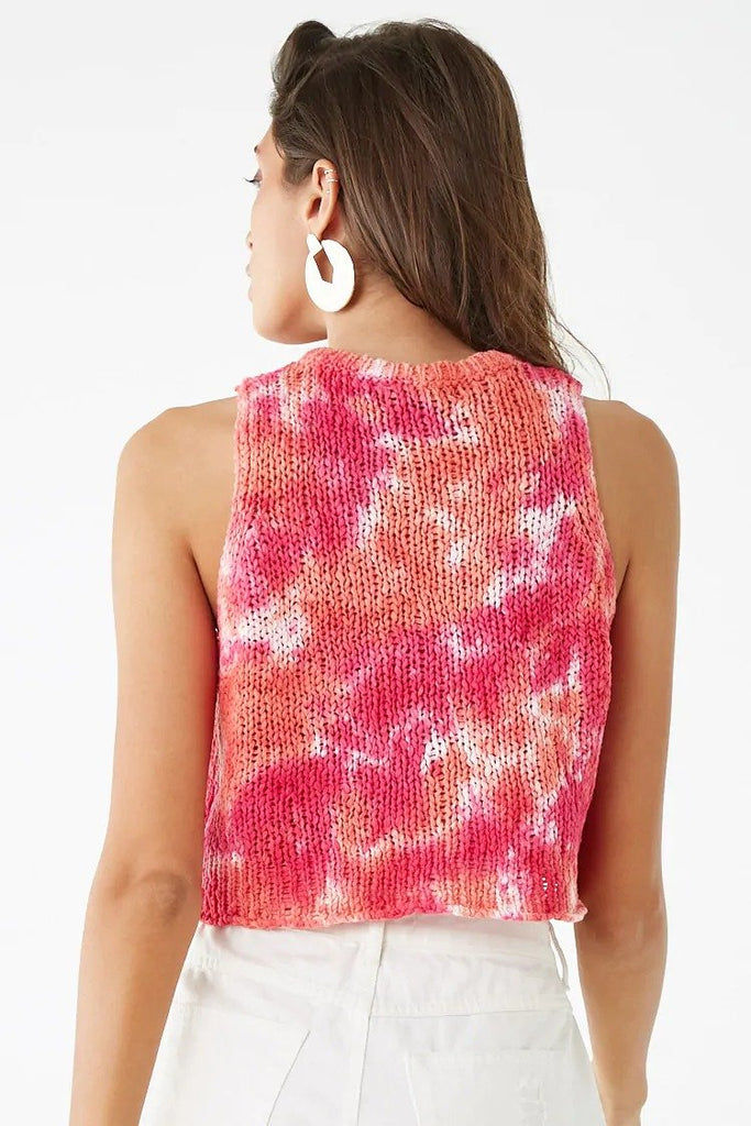 Tie-Dye Sweater-Knit Crop Top