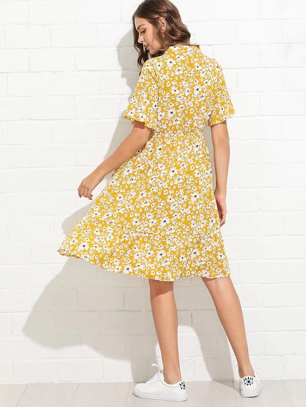 Tie Neck Daisy Tea Dress