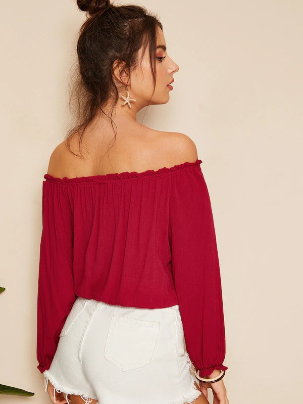 Tied Off The Shoulder Frill Trim Top