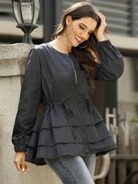 Tiered Layered Drawstring Waist Zipper Jacket