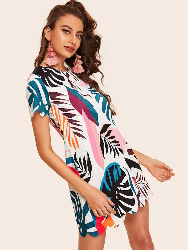 Tropical Print Scallop Trim Dress