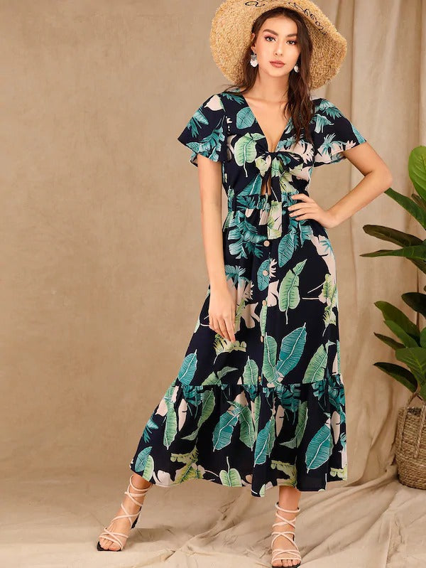 Tropical Print Tie Front Ruffle Hem Dress