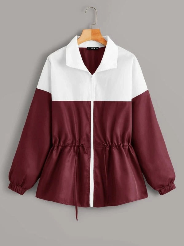 Two Tone Drawstring Front Windbreaker Jacket