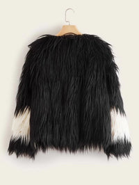 Two Tone Faux Fur Coat