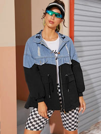 Two Tone Ripped Drawstring Waist Jacket