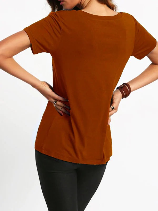 V-Cut Short Sleeve Casual T-Shirt
