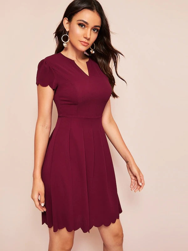V-Neck Scallop Trim Solid Dress