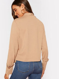 Waterfall Buckle Asymmetrical Hem Jacket