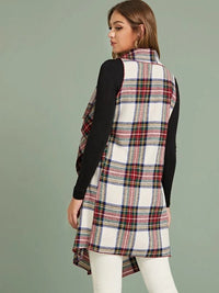 Waterfall Open Front Plaid Vest Coat