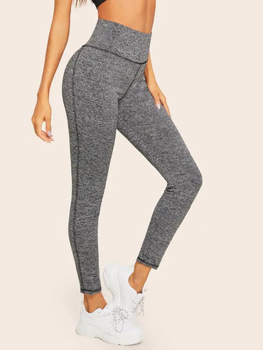 Wide Waistband Marled Knit Leggings