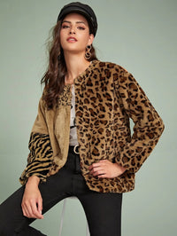 Zebra And Leopard Open Front Faux Fur Coat