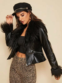Zip Front Faux Fur Detail PU Leather Jacket