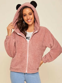 Zip Up Ear Hooded Teddy Jacket