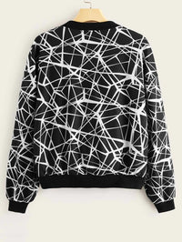 Zip Up Geo Print Bomber Jacket
