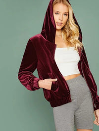 Zip Up Hooded Velvet Jacket