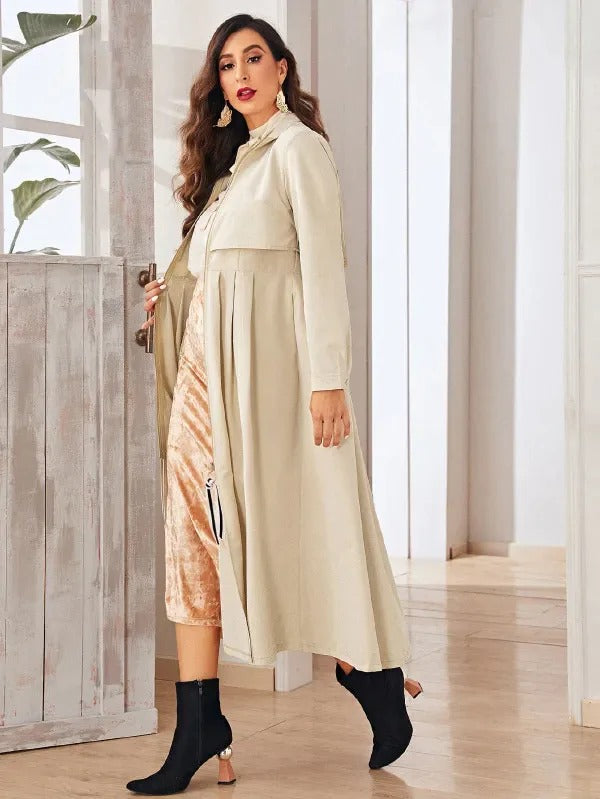 Zip Up Pleated Hem Trench Coat