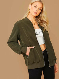 Zip Up Pocket Detail Bomber Jacket