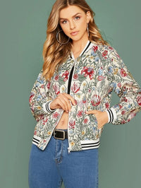 Zip Up Striped Trim Floral Print Bomber Jacket