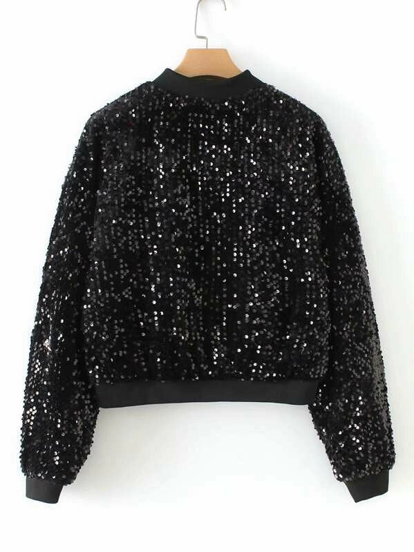 Zipper Fly Sequin Jacket