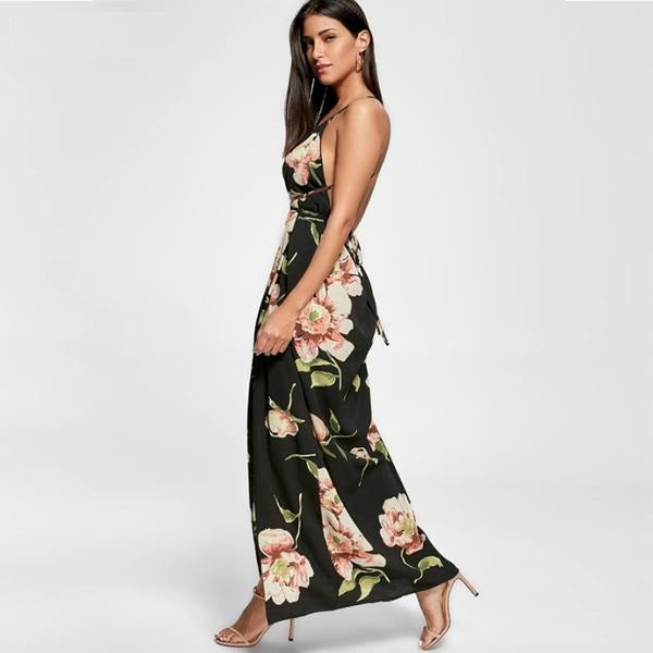 New Fashion V neck belt open back fork maxi strap dress