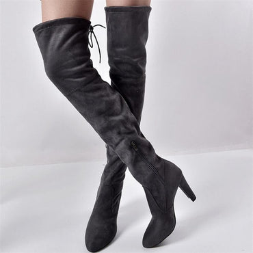 Women warm boots autumn and winter new pointed thick with side zipper over the knee boots