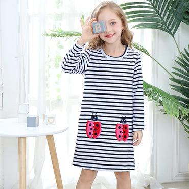 Princess Dress Girl Long Sleeve Animal Appliques Cotton Dress