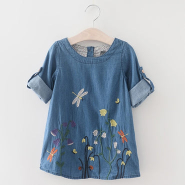 Denim Sleeveless Princess Embroidery Toddler Girl Dress