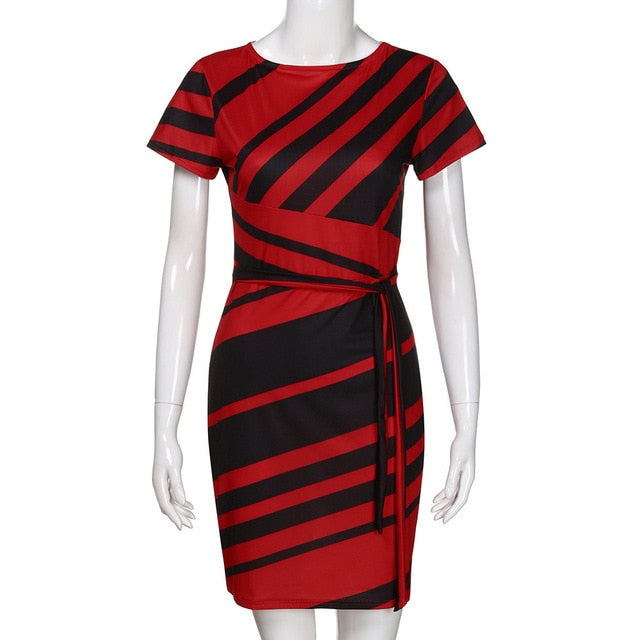 Best Sell New Fashion Women's Working Dresses Pencil Stripe Party Casual