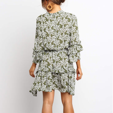 Floral Ruffle Casual Loose Ladies A-Line Mini Dress