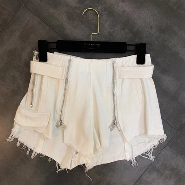 Spring New Zipper Decorative Pocket Raw Hair Denim Shorts