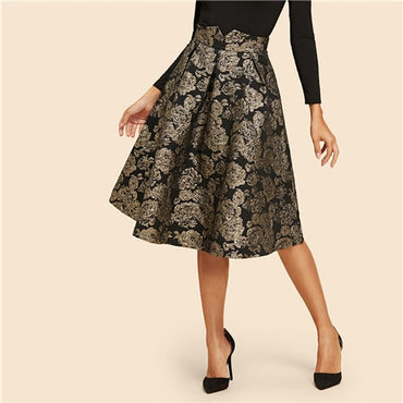 Vintage Gold Flower Print Mid Waist Flare Knee-Length Skirt