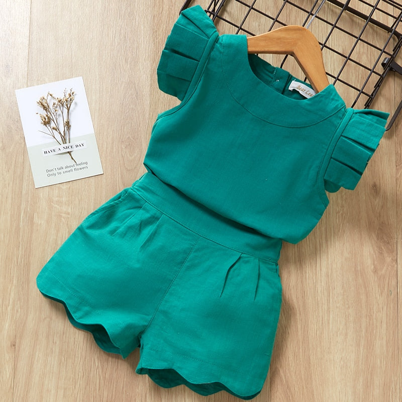 Girls Summer New Style short Sleeve T-Shirt+Pant Dress