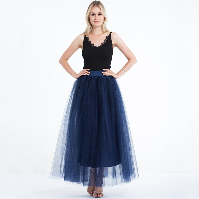 4 Layers 100cm Floor length Skirts for Women Elegant High Waist Pleated Tulle