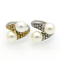 High Quality Stainless Steel Vintage Fashion Double Pearl Ring Gold Color For Women