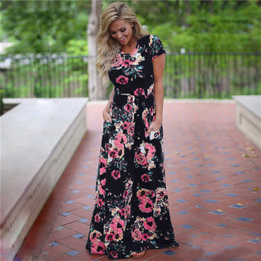 Hot Fashion Floral Print Boho Short Sleeve Tunic Party Dress