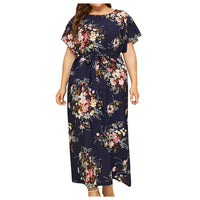 Women's Summer Casual Short Sleeve Maxi Dress Bohemian Floral Print Long Dress Round Neck Belt Elegant