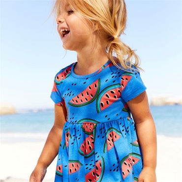 Princess dresss girls summer all printed watermelon tunic tutu dress