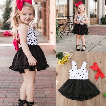New Summer Dot Sleeveless Tutu Bowknot Dress