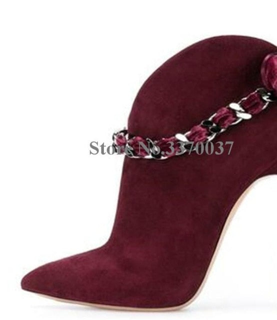 Women Fashion Style Pointed Toe Suede Leather Chain Strap Metal Stiletto Heel Short Boots