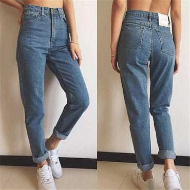 Mom Jeans Light Blue S-3XL Plus Size Ankle-length Cargo Pants