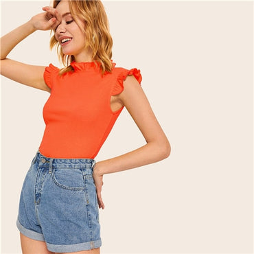 Frilled Trim Keyhole Back Slim Fitted Tee Sleeveless T-shirt