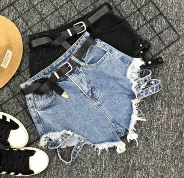 summer new fashion loose black wide leg high waist denim shorts