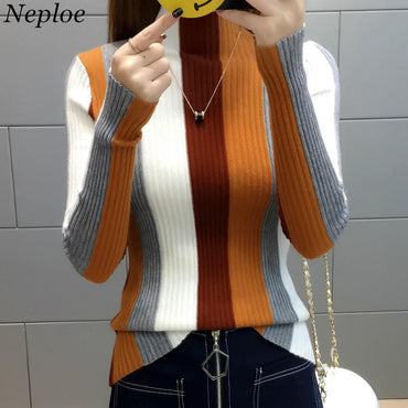 Rainbow Stripe Sweater Contrast Knitted Pullover Long Sleeve