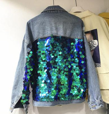 Spring New Womens Vintage Denim Coats Outwear Girls Sequins Long Sleeve
