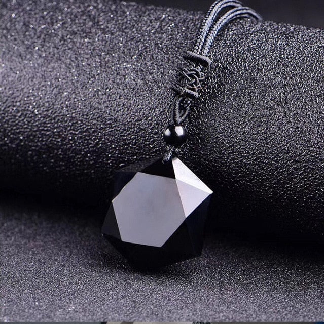 Black Obsidian Six Stars Lucky Amulet  Love Natural Stone Pendant Necklace